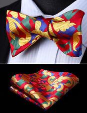 Mens Classic Fashion Red Yellow Geometric Self Bow Tie Pocket Square Set#BG806RS