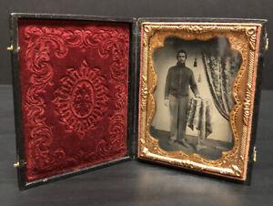 Antique Ambrotype - 1/4 Plate Civil War Soldier - Leatherette Case