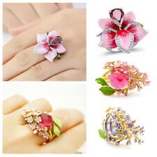 Rose Crystal 925 Silver Ring Women Wedding Travel Flower Rings Charm Jewelry