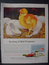 1943 Little Red Hen Chick GM Motors Truck & Coach Vintage Print Ad 11992