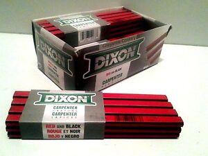 12 Dixon Black Red Soft Medium Hard Lead Carpenter Pencils
