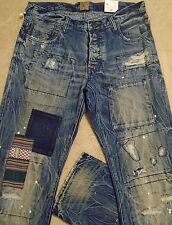 PRPS BARRACUDA Super Creased Tribal Patch MENS Straight Jeans 36 Distressed $385