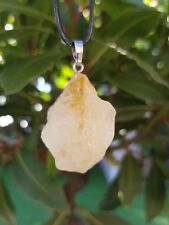 Raw Citrine Gem Stone Crystal Pendant Necklace Reiki Healing Gemstone UK sell