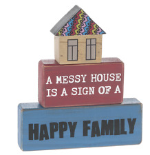 Messy House Happy Home Set of 3 Wood Blocks Prim Distressed Country NEW Ganz