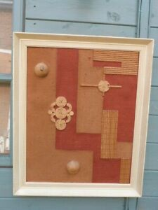 ORIGINAL VINTAGE MID CENTURY FRAMED GEOMETRIC MODERNIST WOOD FABRIC WALL ART
