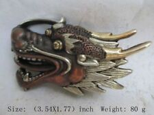 CHINESE RARE Tibet antique SILVER COPPER LUCKY DRAGON HEAD Belt buckle