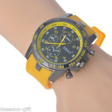 Gift Fashion Three Display Alloy Quartz Watch Men Silicone Wrist Watch Yellow