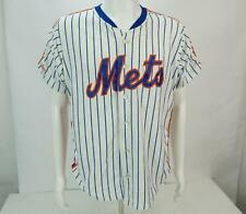 Rawlings New York Mets Men's Pinstripe Button Up Short Sleeve Jersey White Large