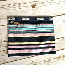 LeSportSac Travel Pouch Cosmetic Makeup Wallet Blue Pink Striped Small Square