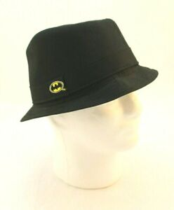 BATMAN By DC Comics Size 12 / 14 Black Embroidered Logo Fedora Hat CLEAN COND.