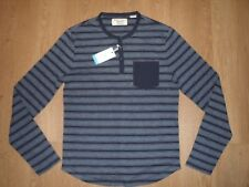 Original Penguin Slub Birdseye Mesh Feeder Knit Knitted Long Sleeve Henley Top M