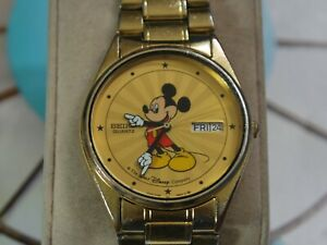 Vintage SEIKO 5H23 Gold Tone Mickey Mouse Men's Watch w/Date /Day