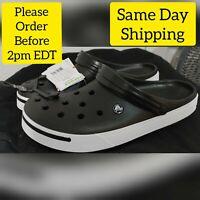 100% Authentic Crocs Crocband II Clogs,Black & White Men's Size 11 Women Size 13