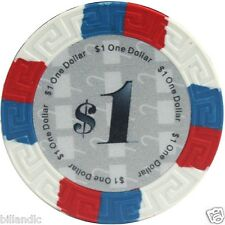 13.5 gram Multi Color Edge Spots poker chip roll of 25 - White $1