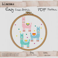 Mini Llamas  - Easy Cross stitch PDF Animals Embroidery Pattern #161