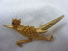 Vintage Costume Jewelry Hobe Goldtone Rhode Runner Pin Ruby Eye