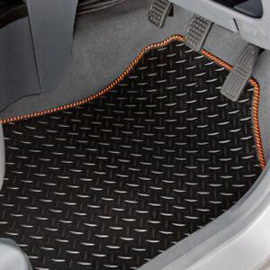 CAR MATS FOR FORD RANGER 2012 ONWARDS TAILORED BLACK RUBBER ORANGE STRIPE TRIM