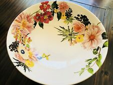 NIB Pottery Barn FLORAL RIM Footed SERVING BOWL EASTER BUNNY Dinnerware Dinner