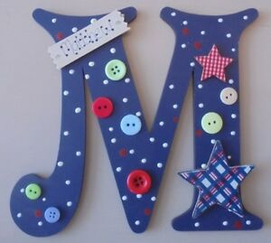 Tartan Star Personalised *ANY LETTER & NAME* child kids Room Door Sign Plaque db