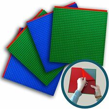 """Peel-and-Stick LEGO®-Compatible Baseplates  - 4 Pack (10"""" x 10"""" - 2 Blue, 2 Gree"""