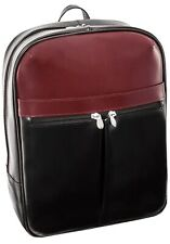 """McKlein 15"""" Top Grain Leather Laptop Backpack L Series Avalon black red"""