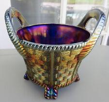 Northwood BLUE Carnival Glass Bushel Basket circa 1908 * Tremendous Iridescence!
