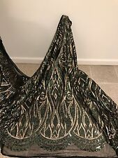 "BLACK STRETCH MESH W/GREEN GOLD EMBROIDERY SEQUINS  LACE FABRIC 50"" WiIDE 1 YARD"