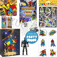 Kids Pre Filled Childrens Superhero Paper Party Bags Boxes For Birthday Gifts