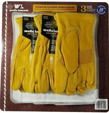 3 Pair Pack Wells Lamont Premium Leather Work Gloves Mens Medium