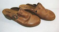 LL Bean Women's Brown Leather Slip On Clogs Mule Shoes Size 8 M US Wood Grain