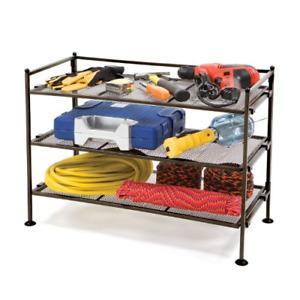 3 Tier Iron Mesh Utility Shoe Storage Rack Organizer Bedroom Closet Espresso New