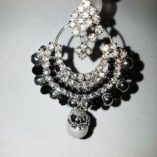 Ladies Indian Earrings Black Silver White Stones Drop Dangle Party Stylish 1120