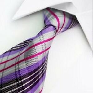 SMART GENTS TIE > Classic Mens Striped Silk Work Necktie Purple Pink White Black