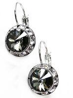 """Women's Earrings Crystal Black Diamond Silver 3/4"""" Leverback Dangle Pierced"""