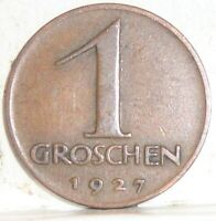 1927 AUSTRIA 1 GROSCHEN WORLD COIN NICE!