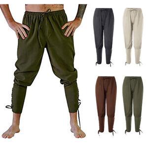 Renaissance Medieval Irish Peasant Pirate Costume Men Loose Viking Pant Trousers