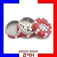 Grinder Herbe Jetons de poker Rouge moulin broyeur tabac Plastic Fer fumeur wee2