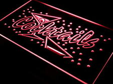 i112-r OPEN Cocktails Bar Pub Club NR Neon Light Signs