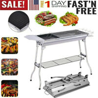 NEW Large Portable Folding Charcoal BBQ Grill Stainless Steel Camp Picnic Cooker
