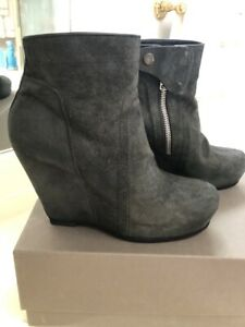 Rick Owens black  wedge booties