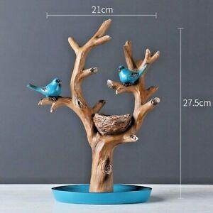 Bird Tree Branch Key Storage Sculpture Figurine Tabletop Home Office Decoration