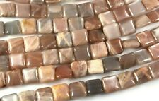 """NATURAL ADULARESCENT MULTI MOONSTONE SQUARE BEADS 12MM 15.5"""" STR PEACH GRAY"""