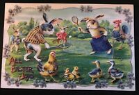 1911~ Easter Postcard Dressed Humanized Rabbits Playing Tennis~ with~Chicks~s126