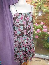 Oasis 100% seda floral años 20 Gran Gatsby Vestido De Seda Forrado Plisado Cintura Baja