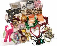 Junk Drawer Lot Crafts DIY Jewelry Wood Stamps Bracelets Garland Ribbon Toys Vtg