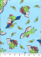 Reading Frogs Blue FLANNEL Quilt Fabric - 5/8 Yard Piece