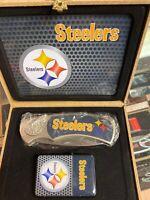NFL FOOTBALL TEAM Pittsburgh Steelers logo knife and lighter set NICE GIFT BOX!