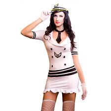 Superb Sailor/Captain Costume 8 Pce Dress Thong Cap Gloves Stockings Tie Size 10