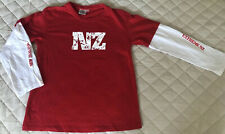 Boys NZ New Zealand Long Sleeve Top Two Tone Red White Extreme NZ Sports Size 12