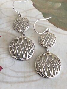 """NEW Sterling Silver Infinity Swirl Love Dangle Drip Hook Earrings 1.75"""" Long"""
